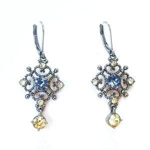 Jewelry - Vintage Filigree Sim. Blue & Yellow Topaz Earrings
